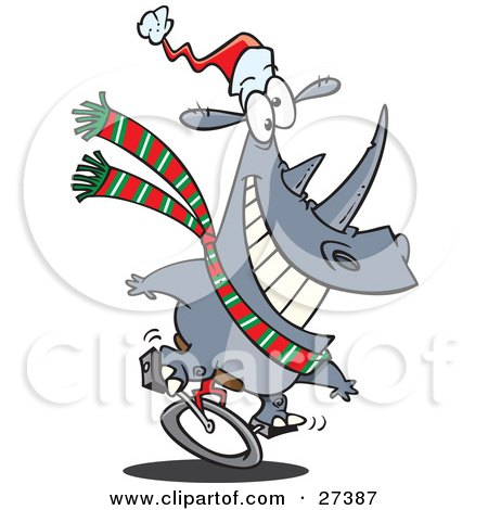 Festive Christmas Rhino Riding A Unicycle And Wearing A Santa Hat And Green, White And Red Scarf Posters, Art Prints