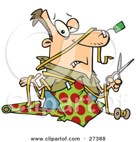 Clipart Illustration of a Clueless Caucasian Man With A Tag Taped To His Nose And Wrapping Paper Taped To His Shirt, Holding A Pair Of Scissors And Shrugging While Trying To Wrap Christmas Gifts by toonaday