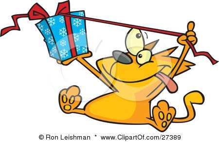 Clipart Illustration of a Spoiled Orange Cat Sitting And Pulling The Ribbon Of A Christmas Present Wrapped In Blue Snowflake Patterned Gift Wrap by toonaday