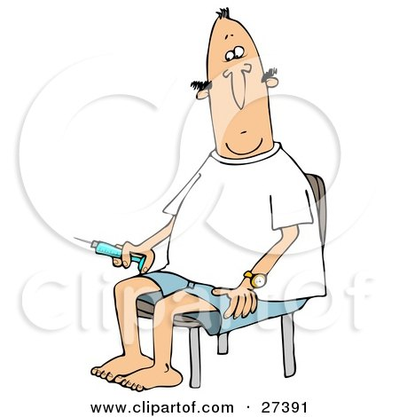 Clipart Illustration of a Diabetic White Man Sitting In A Chair And Preparing To Give Himself An Insulin Shot In His Leg by djart