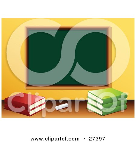 Clipart Illustration of Chalk And School Books In Front Of A Blank Green Chalkboard In A Class Room by elaineitalia