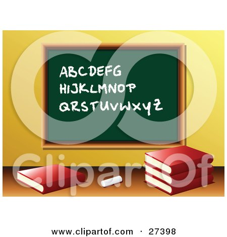 Clipart Illustration of Chalk And School Books In Front Of A Green Chalkboard With The Alphabet Written On It In A Class Room by elaineitalia