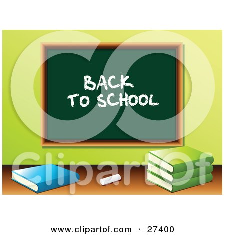 """Clipart Illustration of Chalk And School Books In Front Of A Green Chalkboard With """"Back To School"""" Written On It In A Class Room by elaineitalia"""