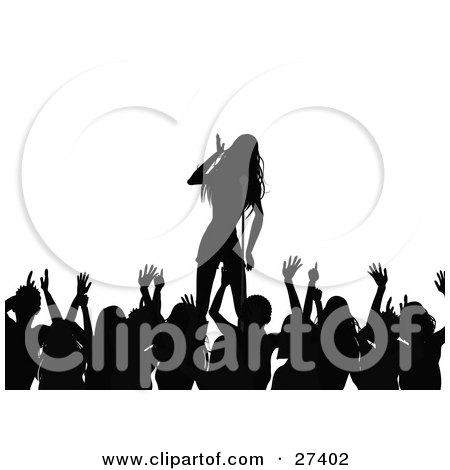 Clipart Illustration of a Silhouetted Crowd Of Fans Waving Their Arms While Listening To A Female Singer On Stage During A Music Concert by elaineitalia