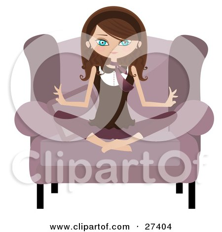 Calm Brunette Caucasian Woman Sitting Cross Legged In A Pink Chair And Meditating Posters, Art Prints