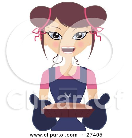 Clipart Illustration of a Happy Caucasian Woman Smiling And Holding A Cake Or Fresh Bread In A Pan by Melisende Vector