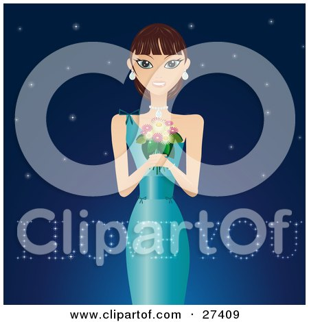 Clipart Illustration of a Beautiful Woman In An Evening Gown, Holding A Bouquet Of Flowers And Wearing Diamonds, Smiling And Standing Against A Starry Night Background With I Love You Text by Melisende Vector