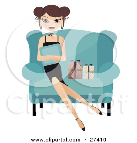 Happy Caucasian Woman Sitting In A Big Chair, Hugging A Pillow And Smiling With Two Gifts At Her Side Posters, Art Prints