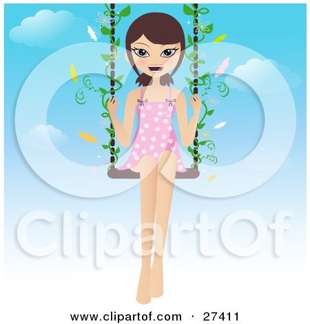Clipart Illustration of a Happy Brunette Woman In A Pink And White Polka Dot Dress, Swinging With Butterflies On A Summer Day by Melisende Vector