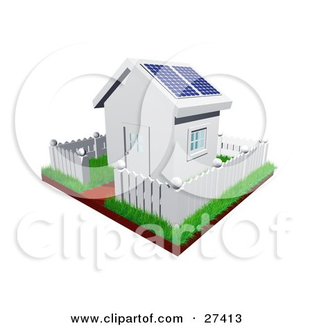 Clipart Illustration of a Cute Little White House With Green Grass, A Picket Fence And Solar Panels On The Roof by Frog974