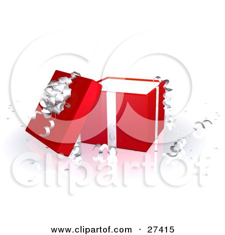 Clipart Illustration of an Open Red Gift Box With Silver Ribbons And A Bow by Frog974
