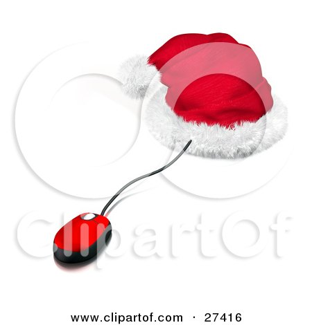 Clipart Illustration of a Red And Black Corded Computer Mouse Sticking Out Of A Santa Hat, Symbolizing Christmas Shopping Online by Frog974