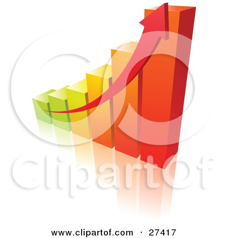 Clipart Illustration of a Red Arrow Alongside A Green, Yellow, And Orange Bar Graph Showing An Increase In Profits by beboy