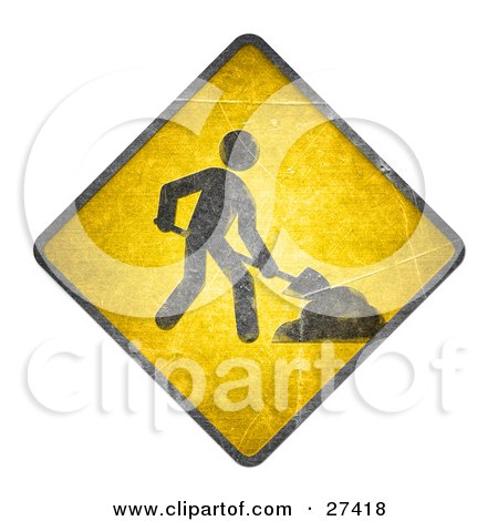 Clipart Illustration of a Yellow Road Sign With A Person Digging, On A White Background by beboy