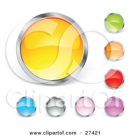 Clipart Illustration of a Collection Of Yellow, Green, Orange, Red, Purple, Pink, Gray And Blue Circular Buttons by beboy