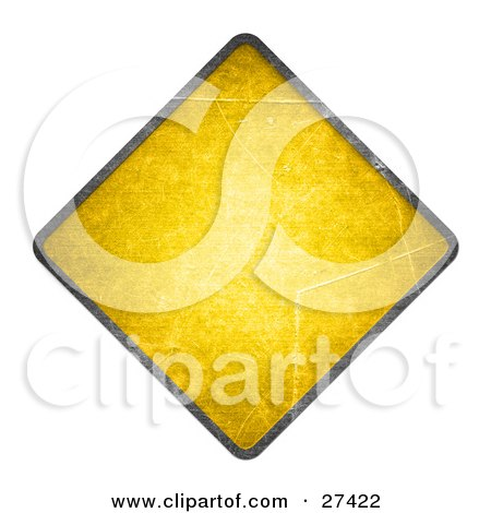 Clipart Illustration of a Blank Yellow Cautionary Road Sign With A Black Edge, Over White by beboy