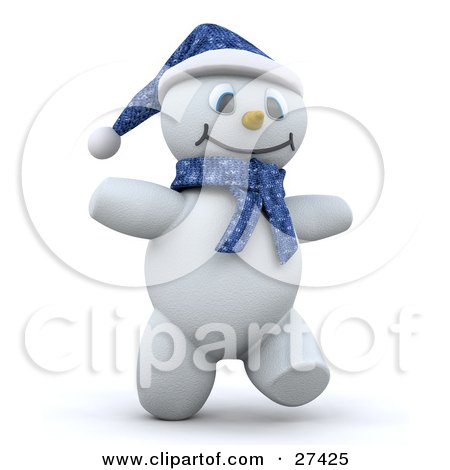 Clipart Illustration of Frosty The Snowman In 3d, Wearing A Blue Hat And Scarf, Smiling And Walking by KJ Pargeter