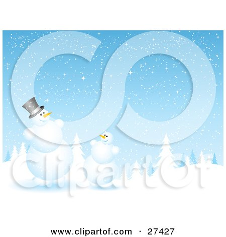 Frosty The Snowman And A Friend Chatting At The Edge Of An Evergreen Forest Flocked In Snow On A Snowing Night Posters, Art Prints
