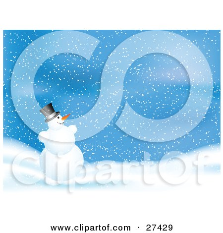 Frosty The Snowman Grinning And Playing In The Snow On A Blue Wintry Night Posters, Art Prints