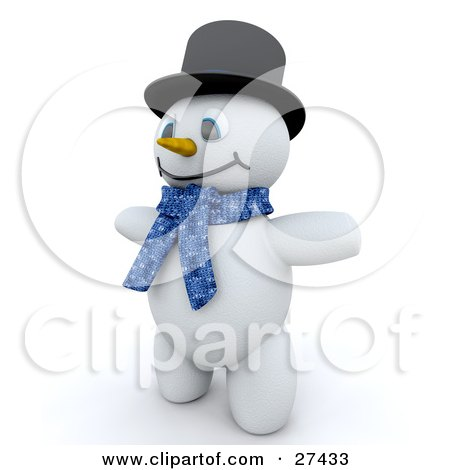 Clipart Illustration of Frosty The Snowman In 3d, Wearing A Black Hat And A Blue Scarf by KJ Pargeter
