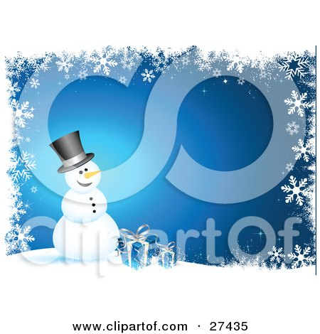 Clipart Illustration of Frosty The Snowman With A Carrot Nose, Wearing A Black Hat And Smiling While Standing With Blue Christmas Presents, Over A Gradient Blue Background Bordered With Snowflakes by KJ Pargeter