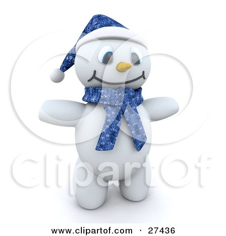Clipart Illustration of Frosty The Snowman In 3d, Wearing A Blue Hat And Scarf And Holding His Arms Out by KJ Pargeter