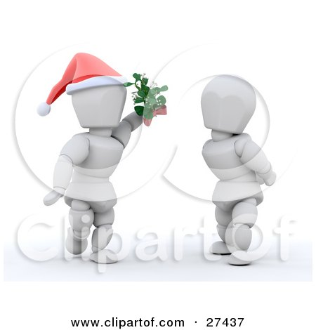 Clipart Illustration of a Romantic White Character Wearing A Santa Hat And Holding Mistletoe Between Himself And A Woman by KJ Pargeter