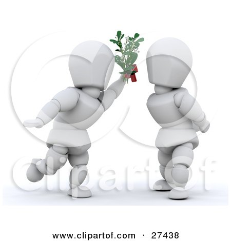 Clipart Illustration of a White Character Leaning In For A Kiss While Holding Mistletoe Between Himself And A Woman by KJ Pargeter