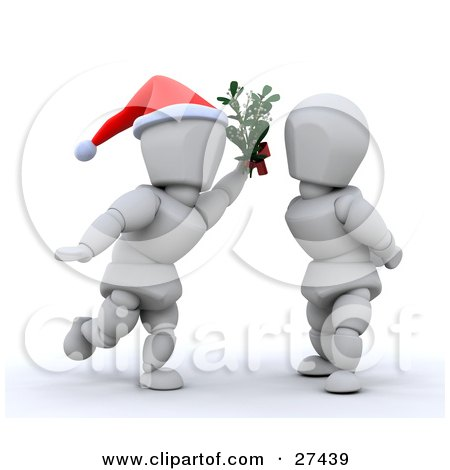 Clipart Illustration of a White Character Wearing A Santa Hat, Holding Mistletoe Between A Woman And Leaning In For A Kiss by KJ Pargeter