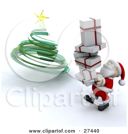 Clipart Illustration of Santa Claus Smiling And Carrying A Stack Of Christmas Presents To Put Them Under A Green Spiral Christmas Tree by KJ Pargeter