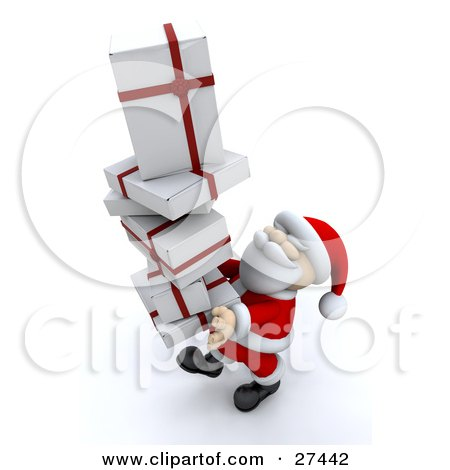 Clipart Illustration of Santa Claus Smiling And Carrying A Tall Stack Of White And Red Christmas Presents by KJ Pargeter