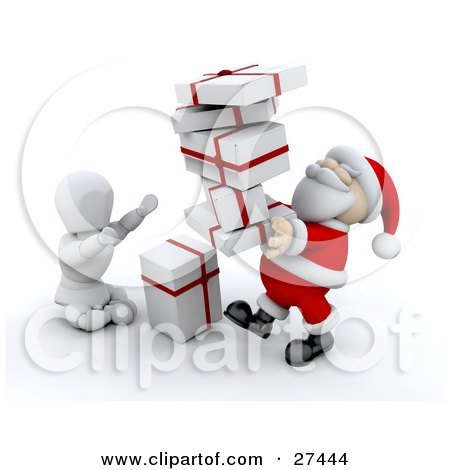 Clipart Illustration of a White Character Sitting On The Ground And Holding His Arms Up To Take A Stack Of Gifts From Santa by KJ Pargeter
