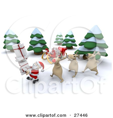 Clipart Illustration of Rudolph And Two Other Reindeer Walking Behind Santa Claus Near His Sleigh In The Woods While Delivering Christmas Presents by KJ Pargeter