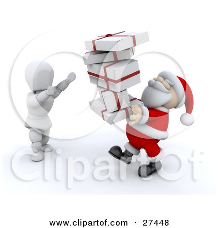 Clipart Illustration of a White Character Standing And Holding His Arms Up To Take A Stack Of Presents From Santa Claus by KJ Pargeter