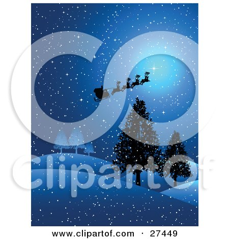 Clipart Illustration of Silhouetted Reindeer, Santa And His Sleigh Flying In The Moon Light Of A Snowy, Winter Night Of Christmas Eve by KJ Pargeter
