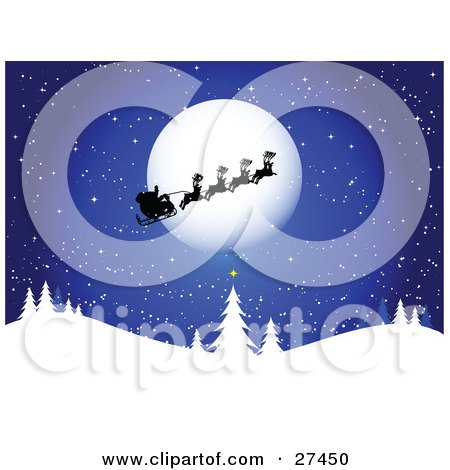 Clipart Illustration of Santa, His Sleigh And Reindeer Silhouetted As They Pass In Front Of The Full Moon On A Blue, Snowy, Wintry Night by KJ Pargeter