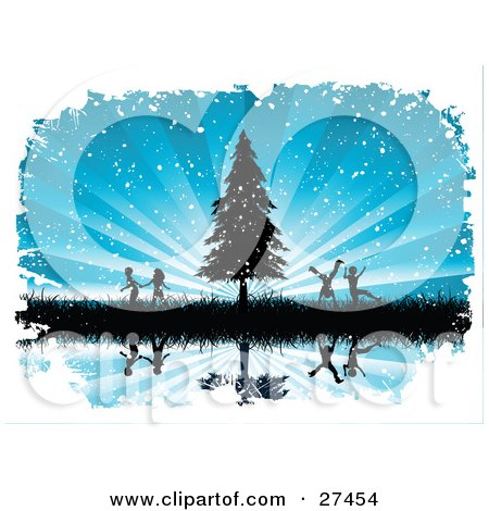 Silhouetted Boys And Girls Running And Playing In Tall Grasses By An Evergreen Tree Over A Bursting Blue Snowing Background, Reflecting On Still Water Posters, Art Prints