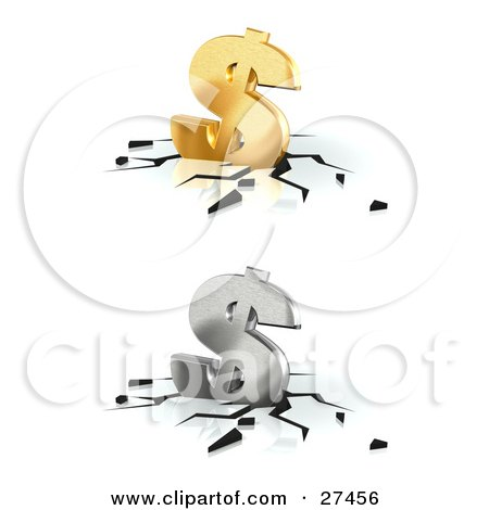 Clipart Illustration of Golden And Silver Dollar Signs Crashing Down Into A White Surface, With Black Cracks by Frog974