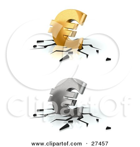 Clipart Illustration of Gold And Silver Euro Currency Signs Crashing Down Into A White Surface, With Black Cracks by Frog974