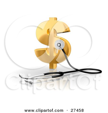 Clipart Illustration of a Stethoscope Up Against A Golden Dollar Sign, Symbolizing Economy, Debt And Savings by Frog974