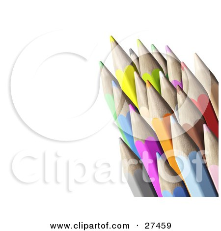 Clipart Illustration of a Bunch Of Color Pencils With Sharpened Tips, Over A White Background by Frog974