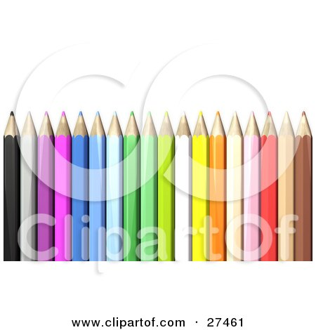 Clipart Illustration of Color Pencils With Sharpened Tips, Standing Upright Over A White Background by Frog974