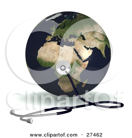 Clipart Illustration of a Stethoscope Up Against Planet Earth On The African Continent, Symbolizing World Heath Or Ecology by Frog974