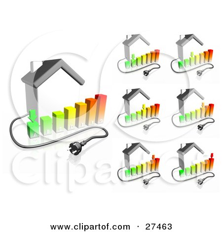 Clipart Illustration of Electrical Cables Coming From Houses With Bar Graphs Showing Different Energy Usage Ranging From Low Use To High Use by Frog974