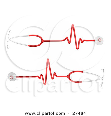 Clipart Illustration of Two Red And Silver Stethoscopes With Heart Rate Waves Traveling Down The Cord by Frog974