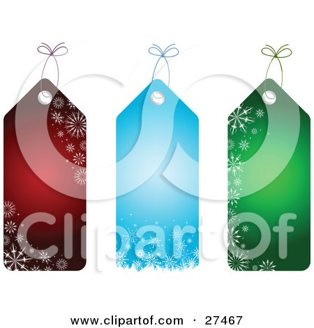 Clipart Illustration of a Collection Of Three Red, Blue And Green Snowflake Patterned Christmas Gift Tags by KJ Pargeter