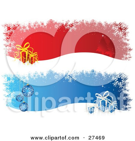 Clipart Illustration of Red And Blue Backgrounds With Snowflakes, Trees And Gifts by KJ Pargeter