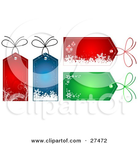 Clipart Illustration of a Collection Of Four Red, Blue And Green ...