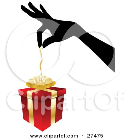 Clipart Illustration of a Silhouetted Woman's Hand Pulling The Ribbon Of Of A Red And Gold Christmas Present by KJ Pargeter