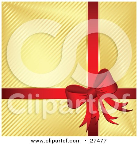 Clipart Illustration of a Red Bow And Ribbon Adorning A Gift Wrapped In Golden Striped Paper by KJ Pargeter